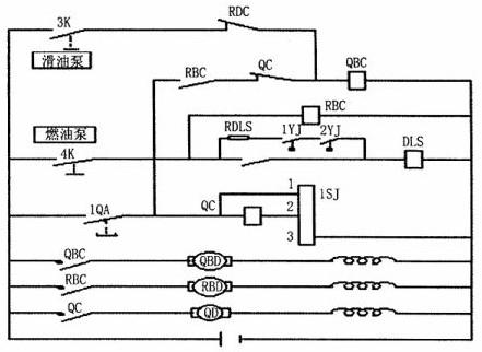 东风4 型机车柴油机起动电路原理图