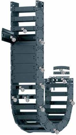 易格斯工程塑料拖链|进口拖链|H4.32系列拖链,每隔一个链节有横杆,可沿两侧快速打开