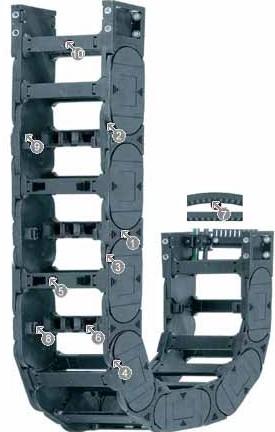 易格斯塑料拖链|进口拖链电缆|H4.80系列拖链,每隔一个链节有横杆,可沿两侧快速打开