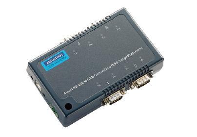 研华USB 转4端口RS-232/422/485 转换器,带浪涌保护USB-4604BM