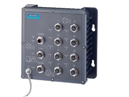 研华8×M12端口IP67宽温网管型工业以太网交换机EKI-6558TI