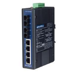 研华4+2 SC光纤端口非网管型工业以太网交换机EKI-2526M/S