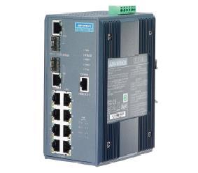 研华8+2GCombo端口宽温网管型工业PoE交换机EKI-7659CPI