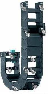易格斯拖链电缆 轻型拖链 14040系列 - 拖链,可沿两侧快速打开,每个链节都有横杆