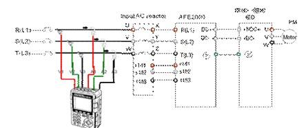 三相交流电梯通过电抗器连接至afe2000,afe2000和台达电梯一体机ied通