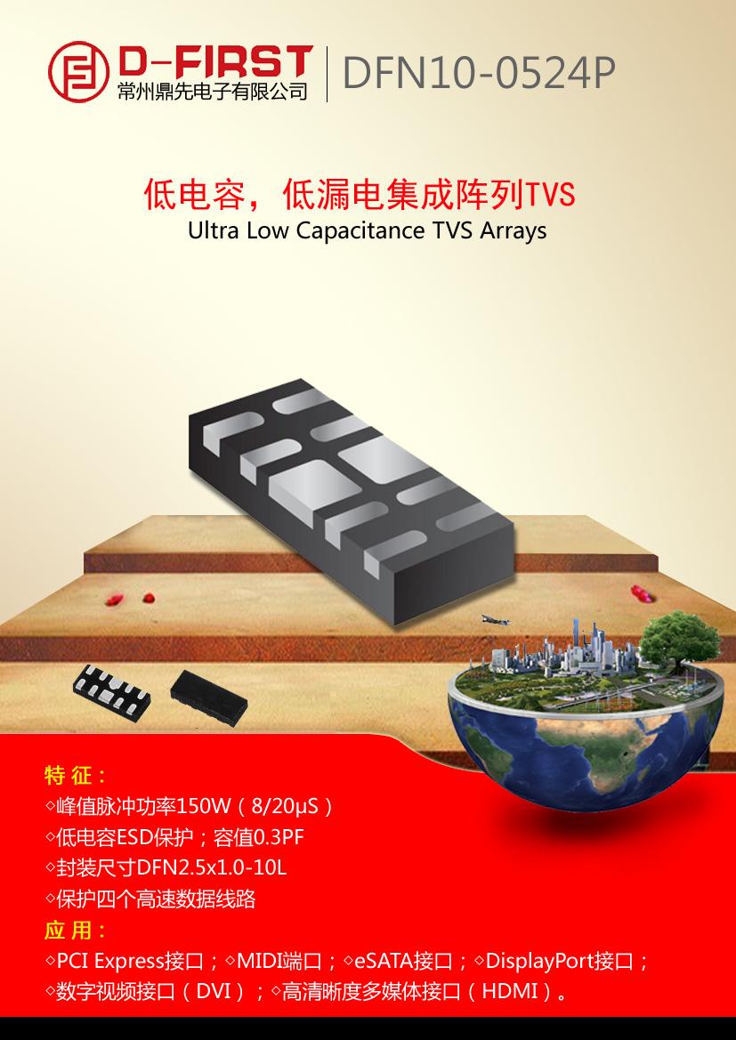 RCLAMP0524P4路单向超低电容TVS阵列