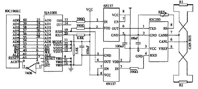 图3节点单元can总线通信接口电路图
