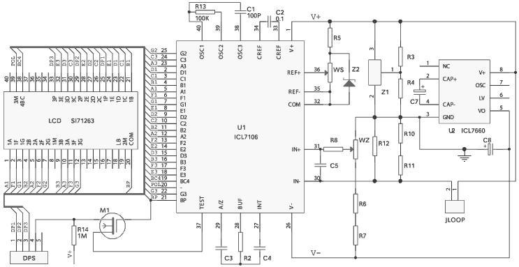 图1 无源液晶显示模块电路框图 电路设计 设计电路如图2所示。显示模块通过JLOOP端子串接在4~20mA信号回路。图中Z1是可调精密并联稳压器,吸收电流能力1~100mA。输出电压可用两个外部电阻R3、R4设置至2.5~30V之间的任何值,考虑到模块的压降和ICL7106的工作电压,这里取2.5V。R10、R11、R12串并联为回路信号的取样电阻,对于不同的显示量程可便于调整信号满度。