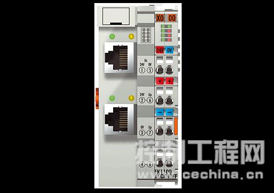 ,EK1000 耦合器可直接与交换机相连。耦合器 EK1100(用于 E 总线组件)或 BK1120(用于 K 总线组件)适合安装在以太网信号传输 (100baseTX) 过程中的其它位置。  BK1120 总线耦合器将 EtherCAT 与成熟的 Beckhoff 总线端子系列中的 K 总线组件 (KLxxxx) 相连。一个站由一个 BK1120总线耦合器、任意多个端子(最多 64 个,带 K 总线扩展时最多 255 个)和一个总线末端端子组成。该总线耦合器可识别所连接的端子