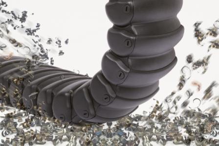 """特别适用于机床和机械工业的新品:来自德国易格斯的""""RX""""工程塑料拖管。所有碎屑和碎片<span class=""""a_b_c_0"""">www.cechina.cn</span>,无论大颗粒还是细小微粒,都可被轻松滑落,从而100%保护电缆和软管。"""