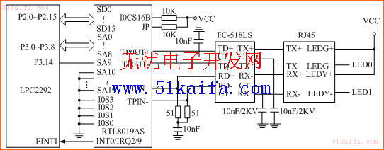 图4以太网接口电路图