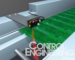 图4采用线性光束能可靠地检测PCB的边缘而不受凹陷处的影响