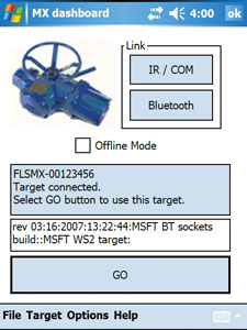 A typical GUI for a single valve.