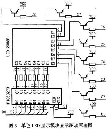 图4是双色LED显示点阵模块的显示驱动原理图