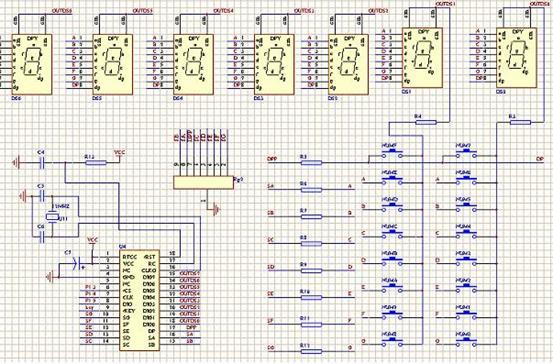 图(1) (2).LCD和LED显示模块 LED用来实现倒计时功能www.cechina.cn,可直接从7289的接口上接过来。其控制较为简单。 LCD用来显示提示信息及在时间设置时的提示功能。其电路图如图(2)所示。
