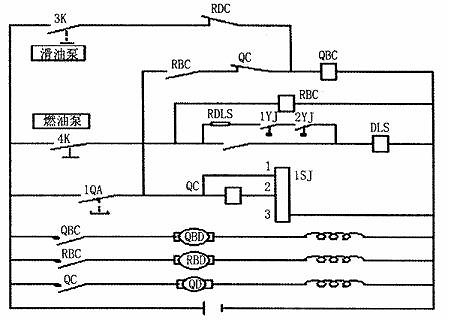 型机车柴油机起动电路原理图