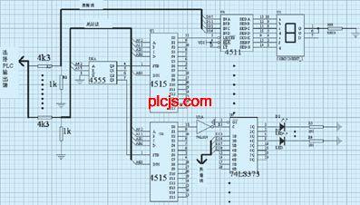 电路板上有地址线和数据线,连接到plc的28dt模块的晶体管输出点.